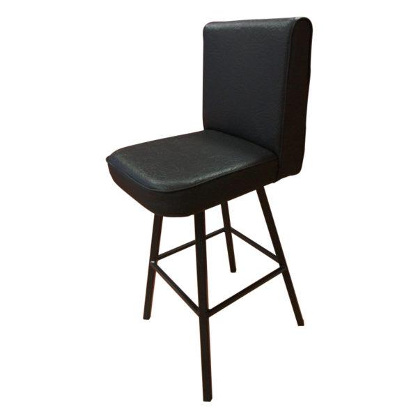Vysoká židle s komaxitovým lakováním a masivní koženkovým polstrováním