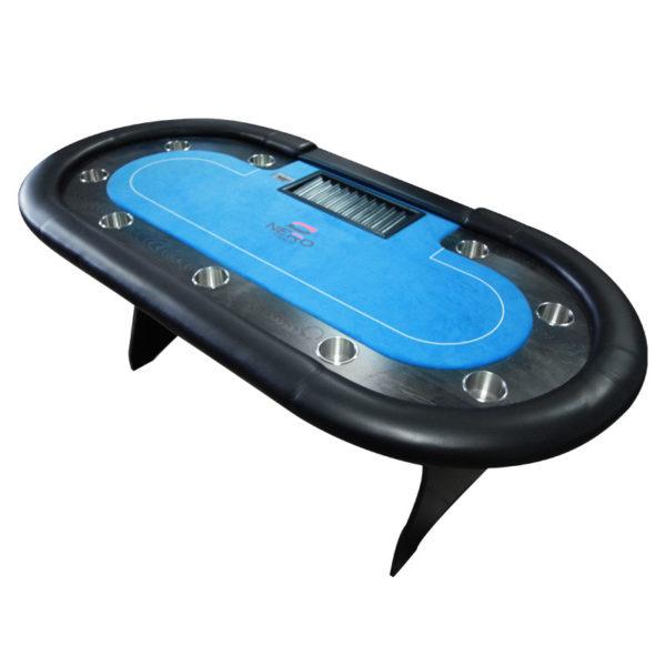 Atraktivní stůl na poker v černo-modrém provedení